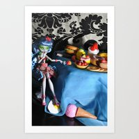 monster high Art Prints featuring Gluttony - As Told By Monster High Dolls by Lydia Schoepflin