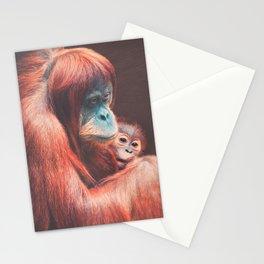 Baby and Mother Sumatran Orangutan Stationery Cards