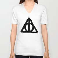 deathly hallows V-neck T-shirts featuring Deathly Hallows on Parchment by Hannah Ison