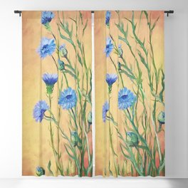 Bachelor Buttons, Flower Painting, by Faye Blackout Curtain