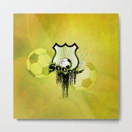 Soccer, football on a shield Metal Print