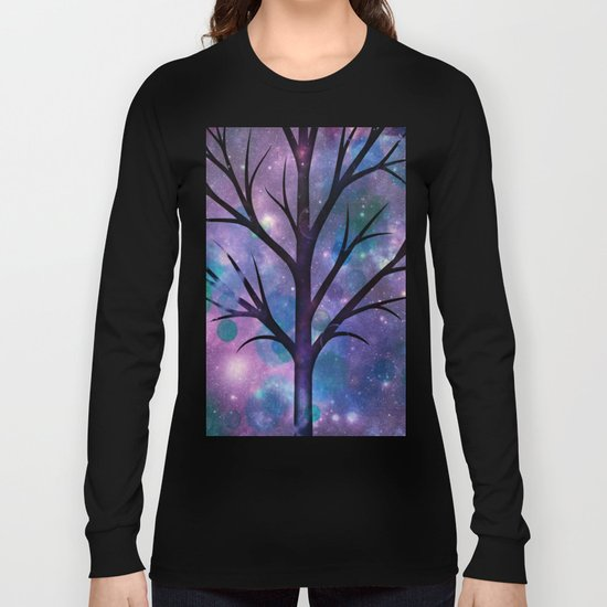 Tree in a fairy-like blue lilac sparkle spring night Long Sleeve T-shirt