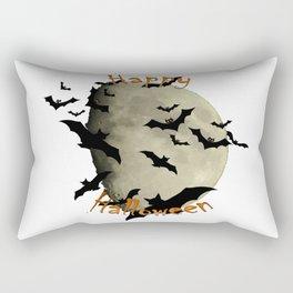 Happy Halloween  Bats and Haunting Moon Rectangular Pillow
