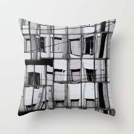 Reflections of Buildings on Buildings in Belgrade Throw Pillow