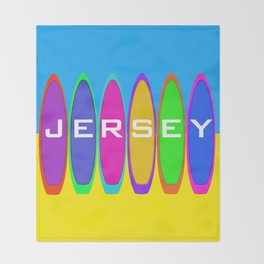 Jersey Surfboards on the Beach Throw Blanket