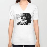 bukowski V-neck T-shirts featuring Charles Bukowski - black - quote by ARTito
