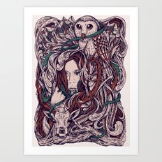 Girl and friends Art Print