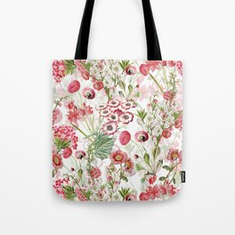 Vintage & Shabby Chic - Pink and White Summer Flowers Garden Tote Bag