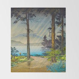Tsuchiya Kôitsu Japanese Woodblock Vintage Print Light Shining Through Forest Trees Lake Throw Blanket