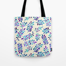Hand Painted Purple & Aqua Leaf Pattern on Cream Tote Bag
