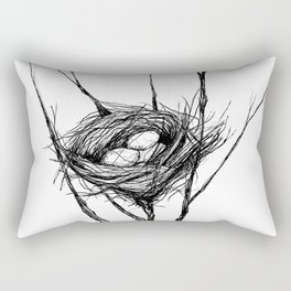 Bird Nest Ink Drawing Rectangular Pillow