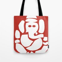 hindu Tote Bags featuring Ganesh - Hindu God by ialbert