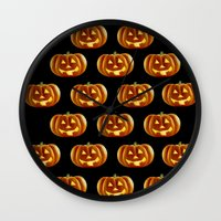 pumpkin Wall Clocks featuring pumpkin by amyskhaleesi