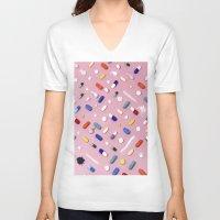 breakfast V-neck T-shirts featuring Breakfast by Wanker & Wanker