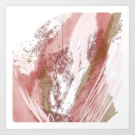 Sugar and Spice: a minimal, abstract mixed-media piece in pink and brown by Alyssa Hamilton Art Art Print