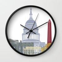 washington dc Wall Clocks featuring Washington DC skyline poster by Paulrommer