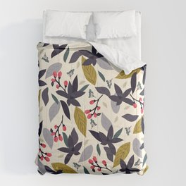 Spring blossom - dark flowers and pink buds Comforters