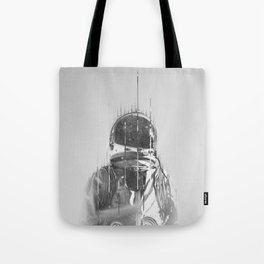 The Space Beyond B&W Astronaut Tote Bag