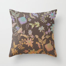 Chateau Brown Chinoiserie Decorative Floral Motif Chintz Throw Pillow
