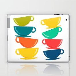 A Teetering Tower Of Colorful Tea Cups Laptop & iPad Skin