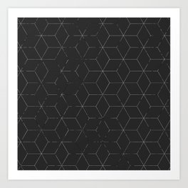 Faded Black and White Cubed Abstract Art Print