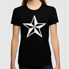 White Tattoo Style Star on Black T-shirt