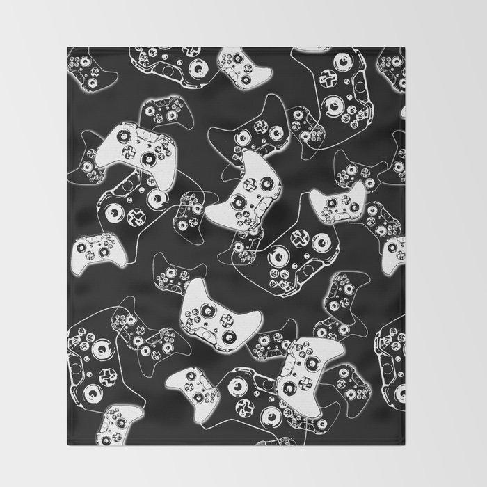 Video Game White on Black Throw Blanket
