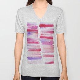 20   181101 Watercolour Palette Abstract Art   Lines   Stripes   Unisex V-Neck