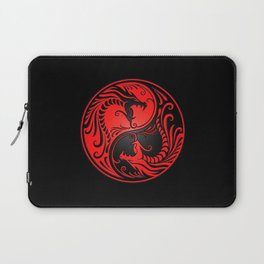 Yin Yang Dragons Red and Black Laptop Sleeve