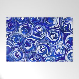 China Blue Paint Swirls Welcome Mat