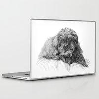 shih tzu Laptop & iPad Skins featuring Shih Poo Resting by Tanya Petruk