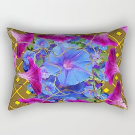 Nut Brown  Pink-Purple-Blue Morning Glory Abstract Rectangular Pillow
