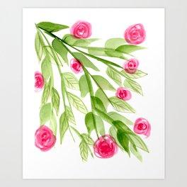 Pink Rosebuds in Watercolor Art Print