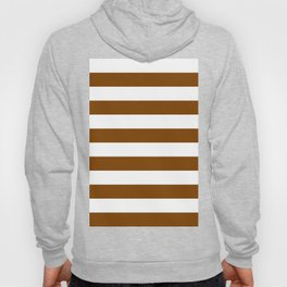 Horizontal Stripes - White and Chocolate Brown Hoody