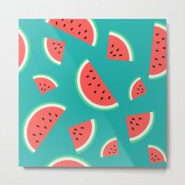 Watermelon Summer Pattern - blue Metal Print