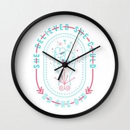 She Believed – Red & Cyan Palette Wall Clock