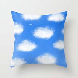Blue and White Sea, Sky and Clouds Painting Throw Pillow