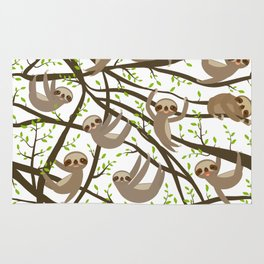 funny and cute smiling Three-toed sloth on green branch tree creeper Rug