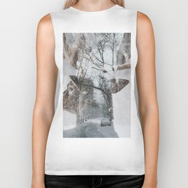 Reindeer and New York City Street Winter Biker Tank