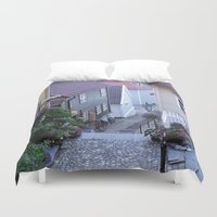 norway Duvet Covers featuring Bergen - Norway  by Cynthia del Rio