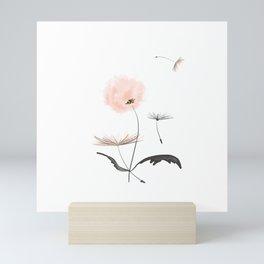 Sweet dandelions in pink - Flower watercolor illustration with glitter Mini Art Print