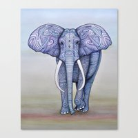 ornate elephant Canvas Prints featuring Ornate Elephant by Katelynn Clarey