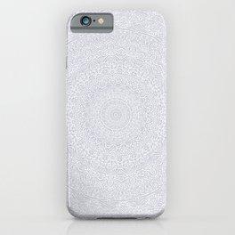 The Most Detailed Intricate Mandala (Light Gray) Maze Zentangle Popular Trending Pattern Design iPhone Case