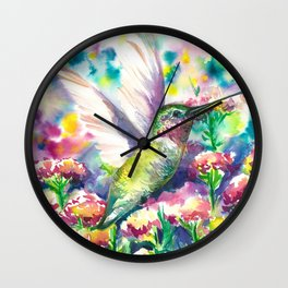 Hummingbird in flowers Wall Clock