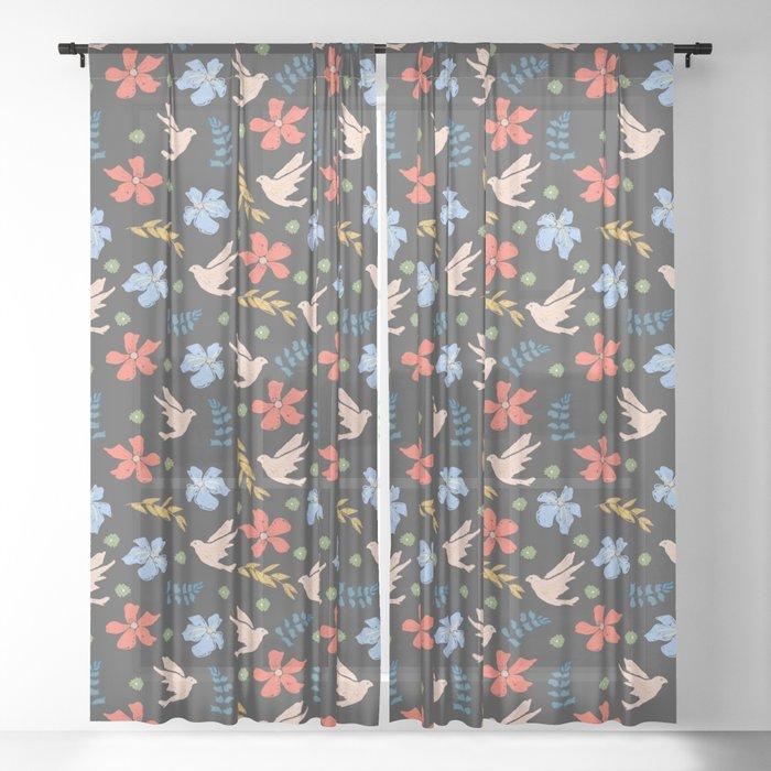 Pretty Gouache textured  bird pattern Sheer Curtain