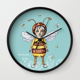 Love the BEES Whimsical Bee Girl Wall Clock