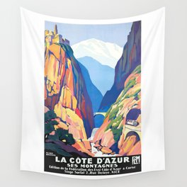 1930 FRANCE Mountains of The Cote D'Azur PLM Travel Poster Wall Tapestry