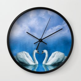 Twon sweet swans Wall Clock