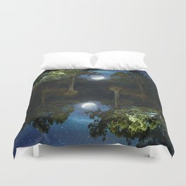 Moonset in coniferous forest Duvet Cover