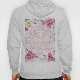 Rose Gold Mandala Garden on Marble Hoody